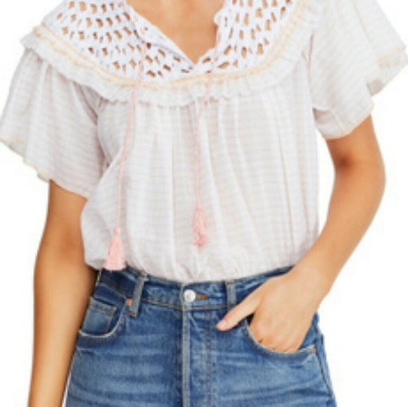 Free People Women's Blouse White Size Medium M Str